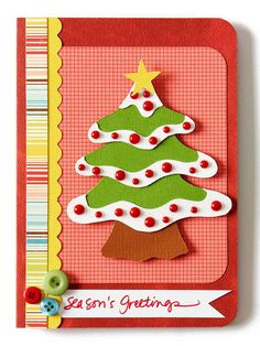 Christmas Tree Paper Piecing - easy to make card.