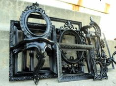 Large Black Picture Frame Set with Mirror Shelf by melissap6908, $109.00