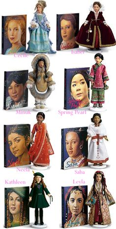 "2002 American Girl's ""Dolls of Many Lands"" - dolls sculpted & designed by Helen Kish. Each available separately; also had display platforms & cases."