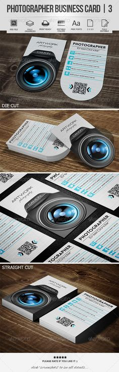 Photographer Business Card 3 by erseldondar FEATURES Easy to customize Editable text/colors Well organized layer Work organized in folders Print readyAll Social Icons Camera