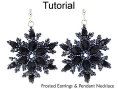 Beading Tutorial Pattern - Snowflake Earrings and Necklace Set - Simple Bead Patterns - Frosted Earrings & Pendant Necklace Jewelry Making Tutorials, Beading Tutorials, Beading Patterns, Frozen Snowflake, Snowflake Jewelry, Diy Collier, It Goes On, Bijoux Diy, Diy Necklace