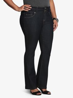 Plus Size Jeans - Plus Size Slim Boot Jean - Dark Rinse #wishlist