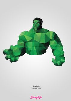 FREE!!! The Hulk Polygon Pixel  A3, 300DPI, (3508 x 4961px) portrait sized high quality .png's with grey or transparent background polygon image for use in your own personal designs. Perfect for print. http://on.fb.me/the-hulk-polygon-pixel-landing