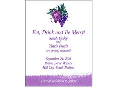 Grape Bunch Watercolor Save the Date Card - perfect for a vineyard or wine-themed wedding! - Wine Country Occasions, www.winecountryoccasions.com