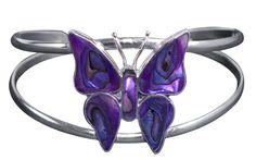 Purple Butterfly Bracelet in Abalone & Silver