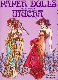 In the Style of Alphonse Mucha, 19th century Art Nouveau fashion illustrator