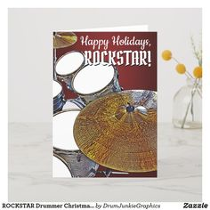 Wish your favorite ROCKSTAR a Happy Holiday with this beautiful drum kit Christmas Card. #drummerchristmas #snaredrum #drumsticks #drumjunkie
