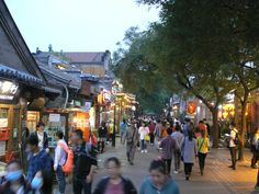 Beijing, Nan Lua Gu Xiang, a renovated Hutong is now a very popular car-free street with shops and restaurants.