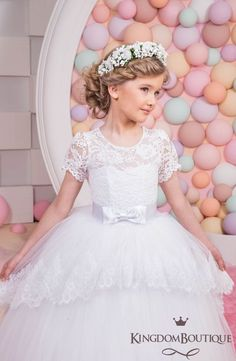 White Lace Flower Girl Dress Birthday by KingdomBoutiqueUA