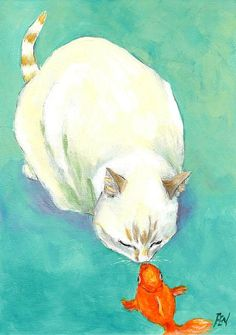 The Kiss Of A Cat And A Fish--art print $15 greeting card $4.25