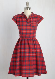 Your Plucky Day Dress by Mata Traders - Red, Blue, Plaid, Print, Casual, Shirt Dress, Short Sleeves, Fall, Woven, Best, Mid-length, Cotton