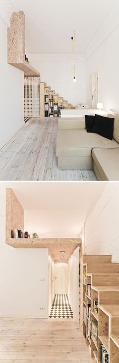 13 Stair Design Ideas For Small Spaces // The stairs along the side wall of this apartment are thin enough that they hardly take up any space, but the space that they do take up is made more functional with the inclusion of storage spaces.