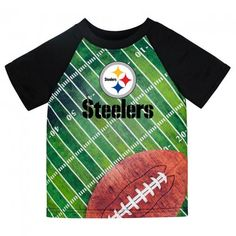Steelers Silky Football T-Shirt (12M, 18M, 2T, 3T & 4T) $9.99  Official NFL Licensed Steelers silky t-shirt for baby, toddler & preschoolers. Bold sublimation print with Steelers logo, field & football covers the whole front of the tee. Cute color-block raglan sleeves. Makes a great gift. Solid black on the back. Machine washable 100% polyester. 12 months, 18 months, 2T, 3T, & 4T. steelers-nfl-sublimation-toddler-tee-football-field-football.jpg