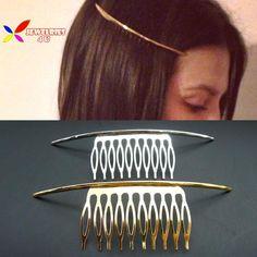 2015 New fashion punk or argent simplicité de métal ARC bâton de cheveux peigne cheveux bijoux accessoires pour femmes peine del pelo mujer dans Bijoux de cheveux de Bijoux sur AliExpress.com | Alibaba Group