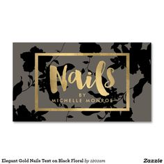 Chic Floral and Gold Accents Business Cards for Nail Artists, Nail Studios, Nail Salons