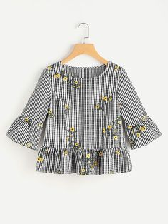 Shop Blossom Embroidered Fluted Sleeve Checkered Top at ROMWE, discover more fashion styles online. Frocks For Girls, Little Girl Dresses, Girls Dresses, Girl Fashion, Fashion Dresses, Womens Fashion, Fashion Design, Blouse Styles, Blouse Designs