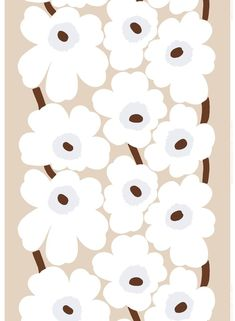 Fabric Designs unikko linen - This thin printed linen fabric features the classic Unikko pattern in beige, white and brown. Marimekko Wallpaper, Marimekko Fabric, Textile Patterns, Print Patterns, Floral Patterns, Pattern Illustration, Surface Pattern Design, Linen Fabric, Quilting Designs