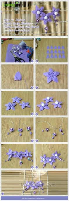 Jewelry Making Tutorial-How to Make a Triple Violet Flowers Chain Necklace with Beads | PandaHall Beads Jewelry Blog