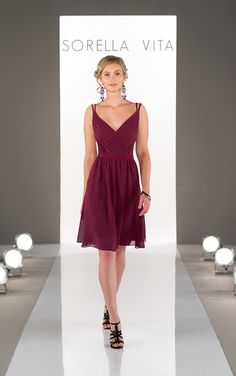 Featuring a classic, pleated v-neck and skinny double straps, this chiffon bridesmaid dress is the perfect way to show off your bridesmaid's shoulders and décolletage. Its cocktail-length chiffon skirt is accented with a coordinating satin waistband, making this style flattering on all shapes. Also available in floor length as style 8614.