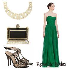 Vestido largo de color verde para una boda de noche. #bodas