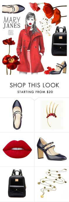 """""""Poppy Into Some Mary Jane's"""" by scarletj17 ❤ liked on Polyvore featuring Nine West, Lime Crime, Boutique by Jamie and MAK"""