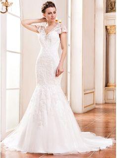 Svatební šaty - $279.99 - Mořská panna Véčkový výstřih Dvorní vlečka Tulle Lace Svatební šaty S Zdobení korálky Flitry  http://www.dressfirst.com/cs/Trumpet-Mermaid-V-Neck-Court-Train-Tulle-Lace-Wedding-Dress-With-Beading-Sequins-002042292-g42292