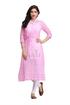 Ada Hand Embroidered Pink Faux Georgette Lucknowi Chikankari Kurti - A162360 Price Rs.1,550.00 #Ada_Chikan #chikankari embroidery kurti #pink chikankari kurti #chikankari kurti price #chikan kurti designs #pink chikankari kurta #lucknowi long kurta #chikankari designer kurti #chikankari dress designs #lucknowi silk kurtis #chicken kadai kurti #lucknowi kurta and churidar #anarkali chikan kurti #kurti for women