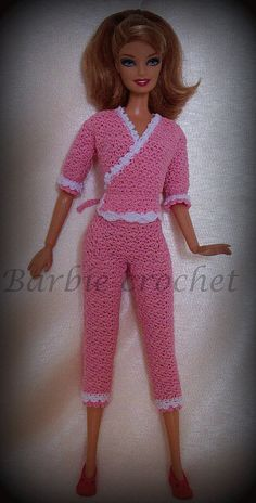 Pink pajamas for barbie by Barbiecrochet on Etsy, €10.00