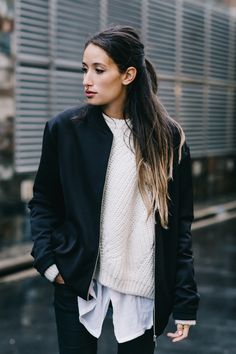 Cozy sweater and bomber jacket