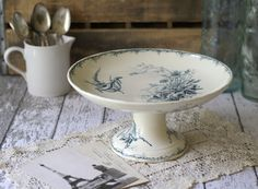 Antique French Cake Stand/Compote - Blue Floral Pattern - by Luneville - circa 1875.