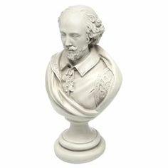 """Bust of William Shakespeare with an antique stone finish.  Product: Bust decorConstruction Material: ResinColor: Antique stoneDimensions: 12"""" H x 7.5"""" W x 5.5"""" D"""