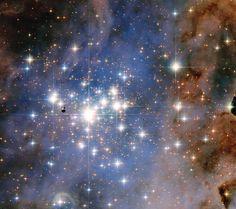Diese Aufnahme des Weltraumteleskops Hubble zeigt den Sternhaufen Trumpler 14, einen der rund 1.100 offenen Sternhaufen in der Milchstraße. Er liegt rund 8.000 Lichtjahre von uns entfernt im Carina Nebel. Obwohl diese lose Ansammlung von Sternen erst rund 500.000 Jahre alt ist, gehört sie zu den sternenreichsten in diesem Nebel – und sie ist einer der leuchtkräftigsten offenen Sternhaufen in der gesamten Milchstraße.