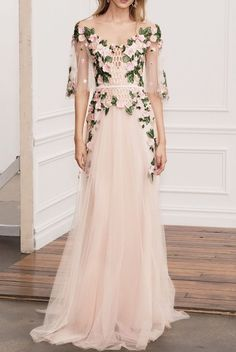 Marchesa Notte Pink Off Shoulder Illusion Evening Gown | Poshare