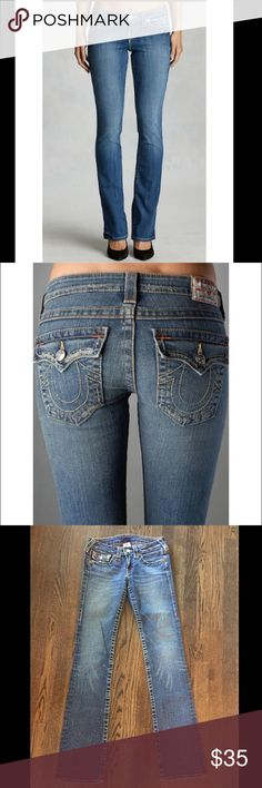 True Religion Jeans Boot Cut Show off your curves with this curvy boot cut. This premium Denim style hugs your hips and flatters every inch of your legs, while the open boot cut finishes adds a slimming touch. True Religion Jeans Boot Cut