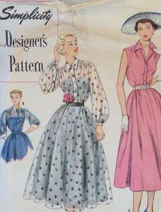 Vintage 1950s Dress Simplicity DESIGNER Sewing Pattern 8275 Bust 32 Size 14