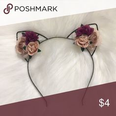 Forever 21 floral cat ears Super cute Metal band with light pink and purple flowers Never worn Will consider offers Smoke free home Accessories Hair Accessories Pink And Purple Flowers, White Headband, Metal Bands, Cat Ears, Forever 21, Super Cute, Hair Accessories, Smoke Free, Floral