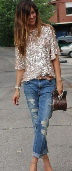 Boyfriend jeans and sequin top in gold blush - great street style casual. Shop Shabby Shack Vintage Denim in Courtyard Antiques in the Mason Antiques District.