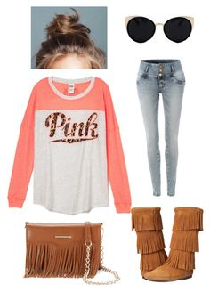 """""""First outfit!!!plz like"""" by lexigraceht ❤ liked on Polyvore featuring LE3NO, Una-Home, Minnetonka, Rebecca Minkoff, casualoutfit and first"""