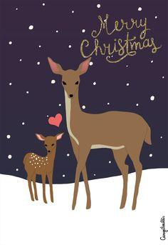 Woodland Christmas, Christmas Deer, Vintage Christmas, Christmas Holidays, Christmas Crafts, Deer Illustration, Christmas Illustration, Grinch Stole Christmas, Merry Christmas Card