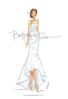 Custom Bridal Illustration in Monique Lhuillier www.brittanyfuson.com