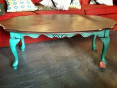 Vintage coffee table turquoise brown distressed by girlUPcycled, $125.00