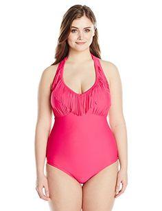6381144f783 Jessica Simpson Womens PlusSize Desert Fringe Halter One Piece Swimsuit  Passion 0X -- Click image