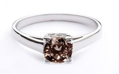 Engagement Solitaire Ring with a Chocolate Diamond..