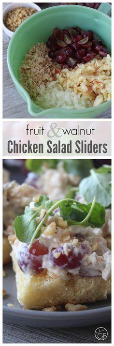 Fruit and Walnut Chicken Salad Sliders – perfect potluck recipe!