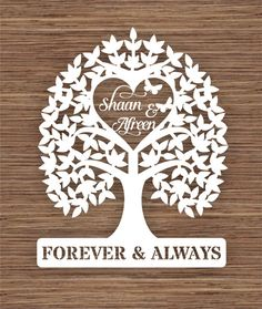 Introductory price* Personalised names Wedding Tree gift PDF SVG Instant… Tree Wedding, Wedding Cards, Wedding Gifts, Paper Cutting, Diy And Crafts, Paper Crafts, Tree Templates, Heart Tree, Brother Scan And Cut