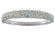 Silver 925 Rhodium,  plated bracelet with,  crystal stones.