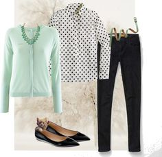"""""""Dot popover & Mint Cardigan"""" by nstob ❤ liked on Polyvore"""