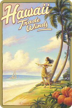 Hawaiian Vintage Postcard - Hawaii Trade Winds - Kerne Erickson #makemanoayours