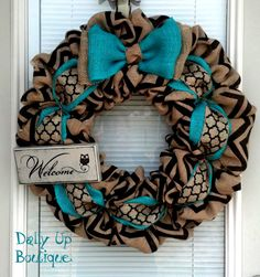 Burlap Wreath Black and Natural Chevron Teal by DallyUpBoutique