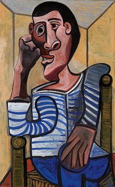 Pablo Picasso Le Marin Self Portrait Picasso Self Portrait, Art Picasso, Picasso Paintings, Cubist Movement, Cubism Art, Art Moderne, Figurative Art, Line Art, Sailor
